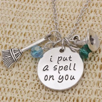 """""""I Put A Spell On You"""" Stamped Sentiment Necklace"""