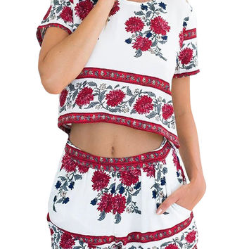 Round Neck Floral Print Crop Top And Shorts Set