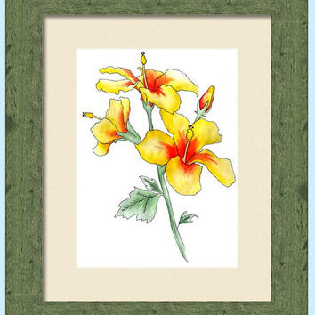 Watercolor Hibiscus Print, Decorative Wall Decor, Floral Wall Art, Yellow and Red Flowers, Giclee Print