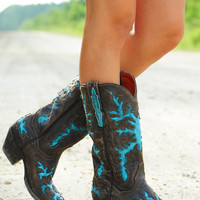 Down The Backroads Boots: Chocolate/Sky Blue | Hope's