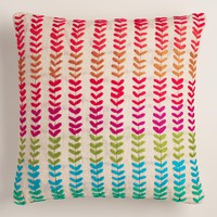 Multicolor Embroidered Chambray Throw Pillow