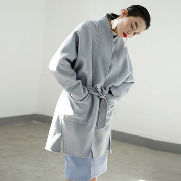 wool coat,wool jacket,blue coat,oversized coat,oversized jacket,wool coat women,winter coat,wrap coat,wrap jacket,winter jacket.--E0785