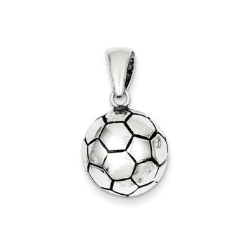 Sterling Silver 14mm Antiqued 3D Soccer Ball Pendant