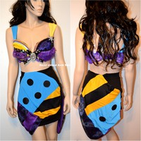 Sally Nightmare Before Christmas Rave Bra and Skirt Halloween Dance Cosplay Costume