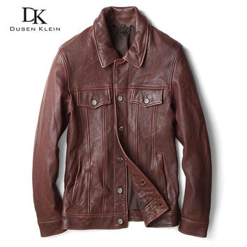 Motorcycle Leather Jacket men Dusen Klein New 2017 Vintage leather jackets real sheepskin slim/Business leather coat 71U9196