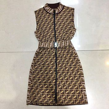 Summer Newest Popular Women Retro Double F Letter Jacquard Sleeveless Zipper Vest Dress