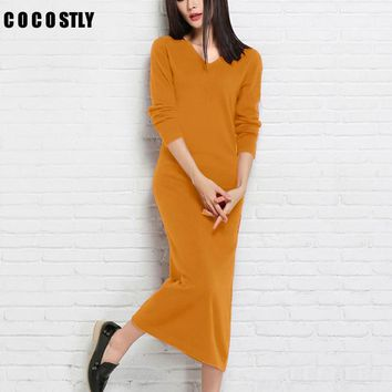 High Quality Winter/ Dress Women Cashmere Knitted Pullovers ladies Fashion Dresses Clothing Mid-Calf Sweaters long dress