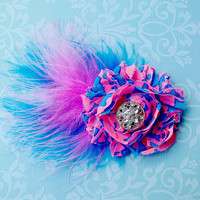 Baby Girls Neon Pink Blue Feather Hair Bow Clip or Headband Womens Accessories