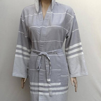 Brownish gray colour Turkish soft and light weigth cotton hooded bathrobe for women's XL or men's L size.