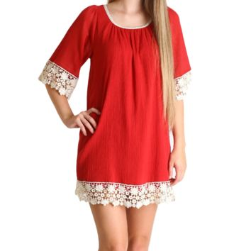 Umgee Red Lace Tunic Dress