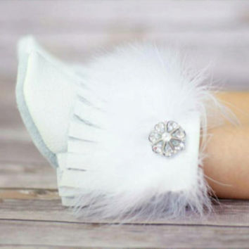 Boots white Moccasins with Fur and Sparkly Button girl moccs baby mocs