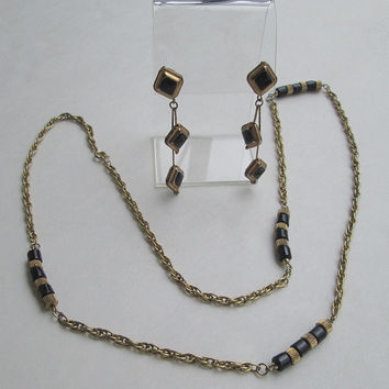 Geometric Chain Necklace 30 inches Comp Dangle Post Earrings Vintage Jewelry
