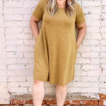 Washed Cotton Mineral Washed Dress - Mustard l Plus Size