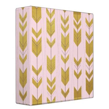 Pink Gold Tribal Arrows Binder