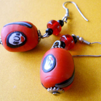 Glass-Ceramic Red Earrings Artisan Handcrafted Dangle Vintage