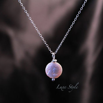 Single Pearl Pendant with Chain, sterling silver necklace, button pearl pendant everyday wear gift handmade luxe style