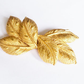 Vintage Coro Brooch Gold Tone Leaves Bridal Sash Bride Wedding Holiday Special Occasion Gift Idea