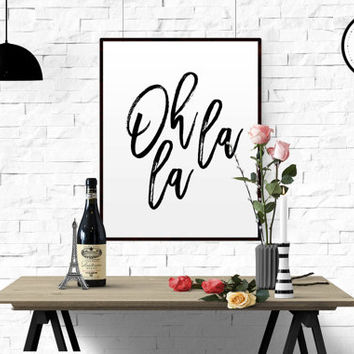 "Inspiration Quote ""Oh La La"" Printable Wall Art Bedroom Decor Affiche Scandinave Art Printable Black And White Wall Prints FRENCH QUOTE ART"
