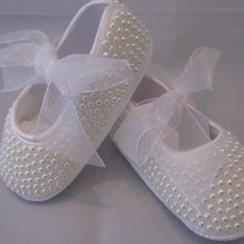 Stunning Baby girls full covered pearls ballet boxed shoe pumps Christening Baptism 0-3m 3-6m 6-12m