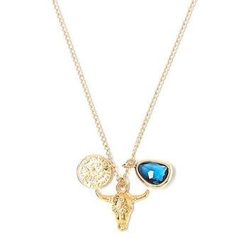 Tess and Tricia Simplicity Deep Blue Bull Cluster Necklace