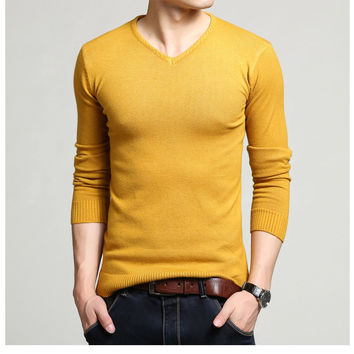 Winter Men Knit T-shirts Tops V-neck Men's Fashion Long Sleeve Wool Sweater [6541373699]
