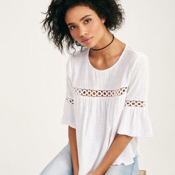 Crochet-Inset Blouse With Short Bell Sleeves | Wet Seal