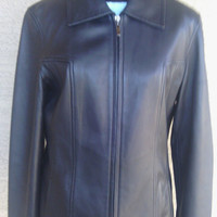 Women's Black leather jacket medium coat zipper front Winlet coats 2 slit pocket front