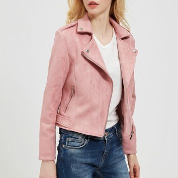 New Preppy Style Women Faux Soft Suede Leather Jackets Lady Slim fit Cute Matte Coat Outerwear Pink Red Gray Coffee