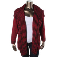 NY Collection Womens Plus Cable Knit Long Sleeves Cardigan Sweater