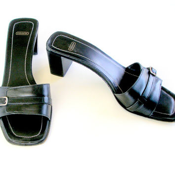 Vintage Coach Sandals Black Leather Chunky Heel Silver Buckle Size 7.5