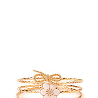 FOREVER 21 Darling Twisted Bangle Set Ivory/Gold