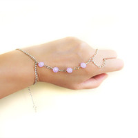 Purple Crystal Slave Bracelet Hand Bracelet Piece Ring Hipster hipster Hand Bracelet party bracelet Hand Jewelry wedding body jewelry