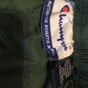 VINTAGE 90s CHAMPION NYLON WINDBREAKER PANTS Green Large Zip Legs