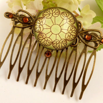 Elegant hair comb in green bronze with a beautiful leaf pattern, festive hair accessories, glitter hair comb, antique hair jewelry, updo