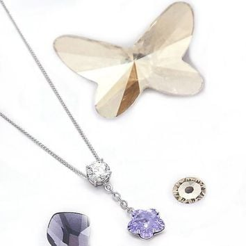 Rhodium Layered Women Flower Fancy Necklace, with Violet Swarovski Crystals, by Folks Jewelry