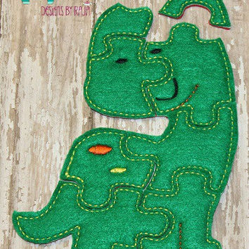 Felt dinosaur embroidered embroidery jigsaw puzzle learning toy, activity, quiet game, kids toys montessori, homeschool, busy book