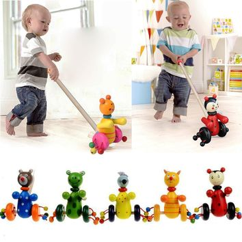 Hot Style DIY Interactive Animal Toddler Baby Toy Animal Push Cart Wooden BlocksTrolley Toy for Children Educational Kids Toys