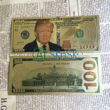 10pcs/lot USA President Donald Trump Gold Foil Novelty Thousand $100 Dollar Bill Trump Banknote America Fake Paper Money Gift