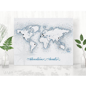World Map Print - Vintage Navy Dots Stickers Included!