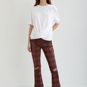 Kick Fit Red Plaid Jeans by R13- La Garçonne