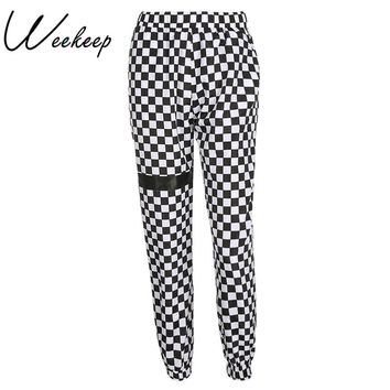 Weekeep Fashion Plaid High Waist Pants Women Patchwork Checkboard Streetwear Sweatpants Elastic Loose Pencil Pants Trousers
