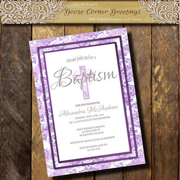 Baptism Invitation Girl LDS Baptism invitation Baptism invitation printable Damask Striped Purple Baptism announcement Christening invite