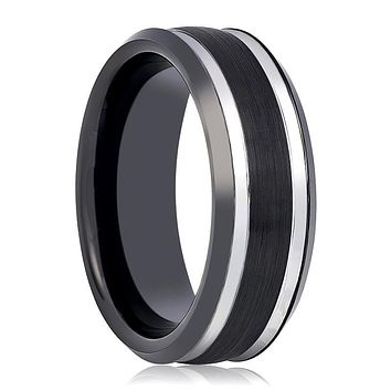 Black & Silver Tungsten Wedding Band for Men with Stepped Beveled Edges - 8MM