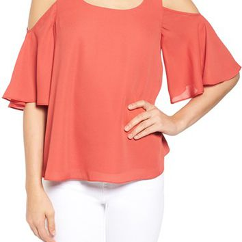 Chelsea28 Chiffon Cold Shoulder Top | Nordstrom