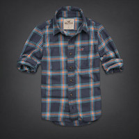NWT Hollister Men's Flannel Shirt Clobberstones Navy Plaid Large L Retail $89!