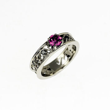 Ruby and black diamond filigree ring, filigree engagement ring,ruby solitaire, black wedding band, pink engagement, gothic, unique ruby ring