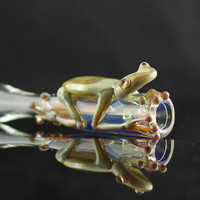 Frog Glass Pipe Chillum Bat Hand Blown Thick Wall Clear & Caramel, Ready to Ship #153