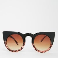 ASOS Round Cat Eye Sunglasses In Mixed Frame