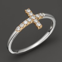 Diamond and 14K White and Yellow Gold Cross Ring, .15 ct. t.w.