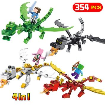 4 In 1 Steve Alex With Dragons Compatible Legoing Minecrafted Figure Model Building Blocks Brick Toys Set  Gift